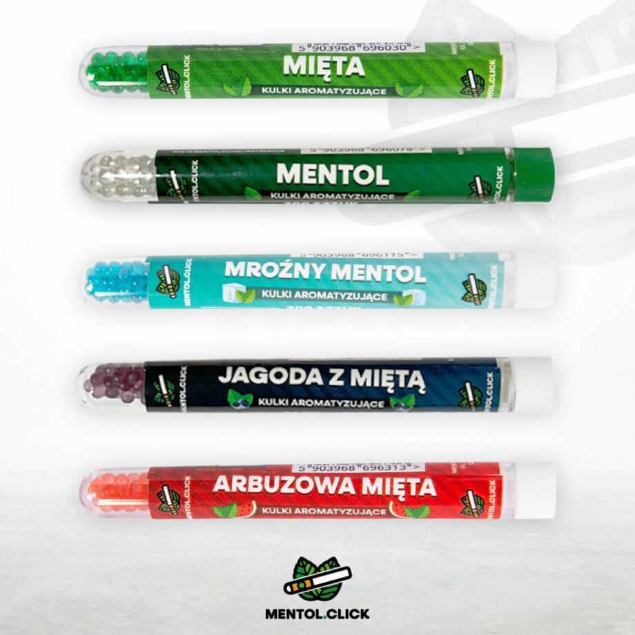 Kulki do papierosow - mix mieta 500szt mieta, mentol, mrozny mentol, jagoda mieta, arbuzowa mieta